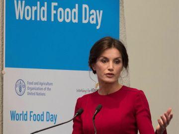 La reina Letizia durante su intervención en la ceremonia del Día Mundial de la Alimentación