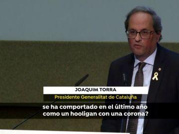"""Torra critica al """"hooligan"""" de Felipe VI y al Gobierno y pide mediación internacional"""