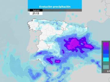 Mapa de la evolución de las precipitaciones de jueves a domingo