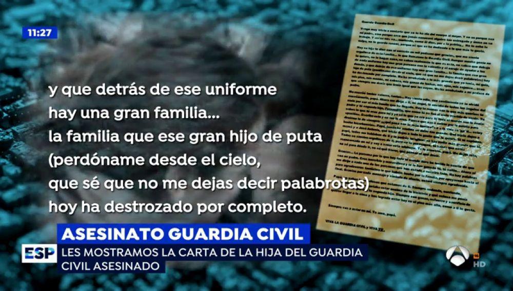 """La desgarradora carta de la hija del guardia civil asesinado: """"Ese hijo de ... me ha quitado lo más grande que tenía"""""""