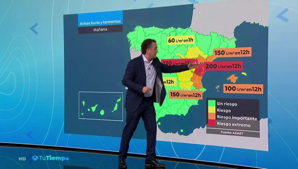 Predominio de cielos nubosos en la mayor parte del país con precipitaciones en el área mediterránea