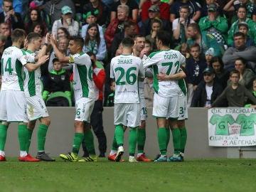 Los jugadores del Rubin Kazan celebran un gol en la Liga rusa