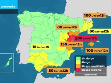 Mapa: Zonas que están en riesgo por lluvias en España