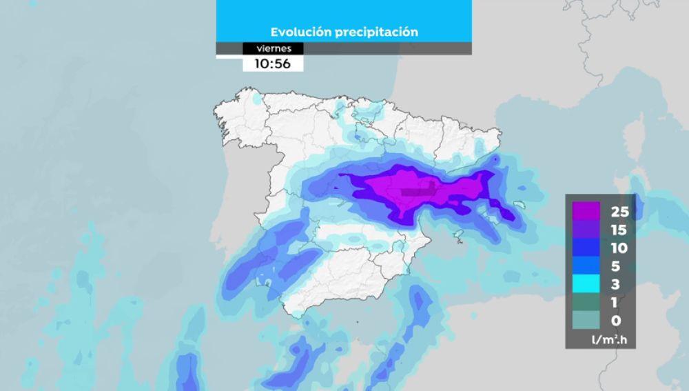 REEMPLAZO | Mapa de la evolución de las precipitaciones de jueves a domingo