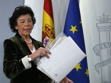 Isabel Celaá, en la rueda de prensa del Consejo de Ministros