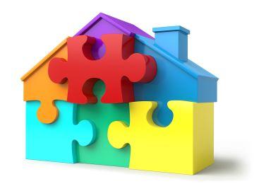 Imagen de un rompecabezas en forma de casa