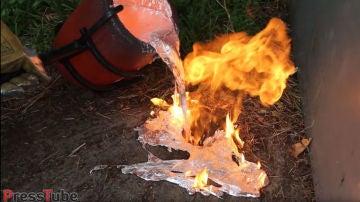 ¿Qué pasa si echas aluminio fundido sobre un nido de avispas?