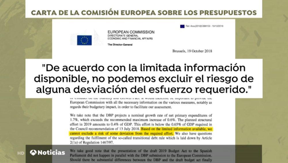 """Bruselas cree que España sufre """"riesgo"""" con los Presupuestos presentados por Sánchez de no cumplir con el ajuste requerido"""
