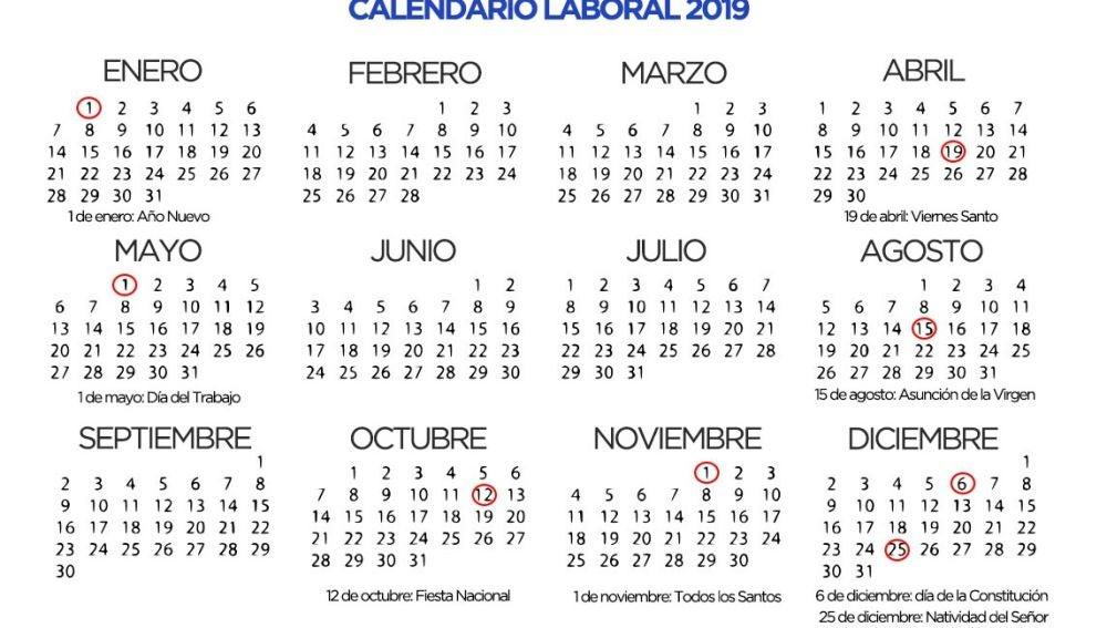 Calendario 2019 Agosto A Diciembre.El Calendario Laboral De 2019 Habra Ocho Festivos