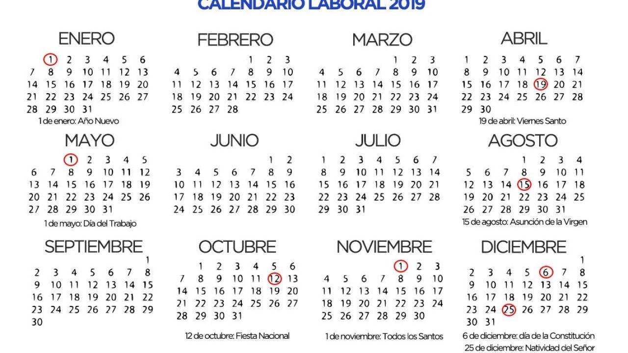 Calendario Laboral 2019 Andalucia.El Calendario Laboral De 2019 Habra Ocho Festivos Nacionales Con