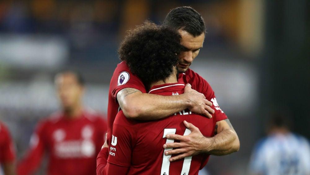 Salah celebra un gol