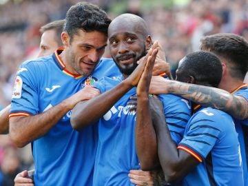 Foulquier celebra su gol contra el Rayo Vallecano