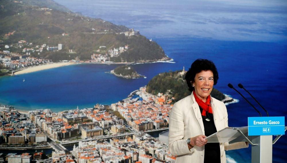 Isabel Celaá, en San Sebastián