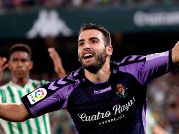 """El centrocampista del Valladolid, Antonio Jesús Regal """"Antoñito"""", celebra su gol anotado frente al Betis."""