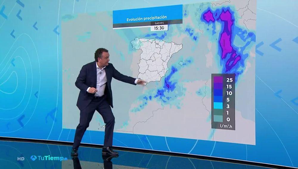 Precipitaciones muy fuertes en el norte de Aragón, Cataluña, sur de Andalucía y área del Estrecho