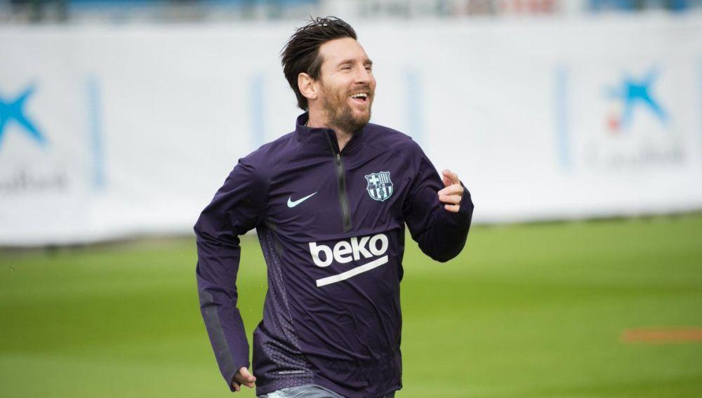 Leo Messi, durante el entrenamiento del Barcelona