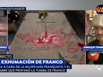 """Pilar Gutiérrez ante el artista que ha pintado la tumba de Franco: """"La paz y libertad que reclama ya la tuvimos con Franco y la perdimos con Zapatero"""""""