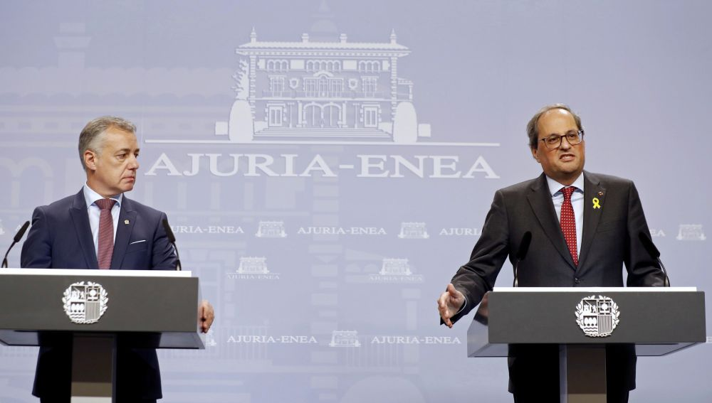 El lehendakari, Iñigo Urkullu, y el presidente de la Generalitat de Cataluña, Quim Torra