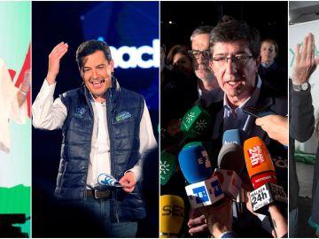 Los candidatos durante el arranque de campaña