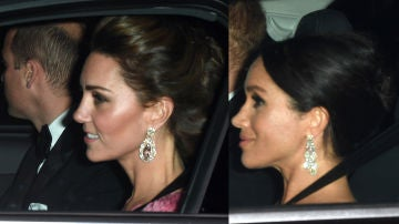 Kater Middleton y Megham Markle llegando a la fiesta