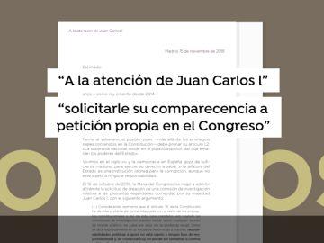 Unidos Podemos envía una carta al Rey emérito para pedirle que comparezca en el Congreso