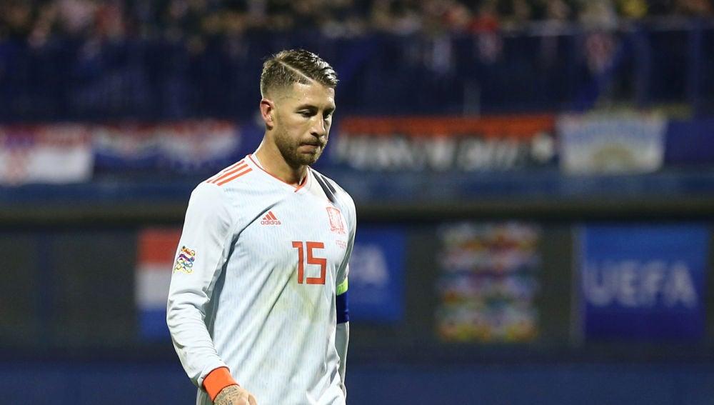 Sergio Ramos, en un partido con la Selección
