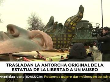 La antorcha de la estatua de la libertad se exhibirá en un museo