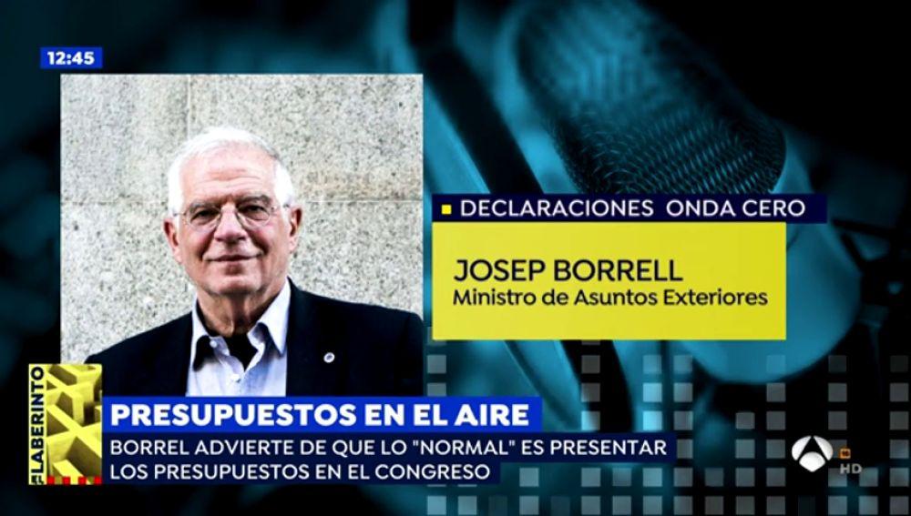 """Borrell: """"Lo normal es presentar los presupuestos y que la Cámara se pronuncie"""""""