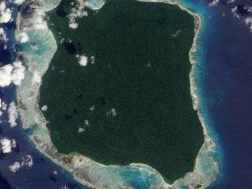 La isla Sentinel del Norte vista desde el aire