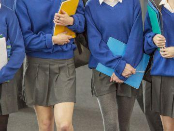 Estudiantes de un colegio privado con su uniforme escolar