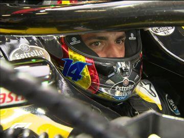 Carlos Sainz luce el 14 en su casco