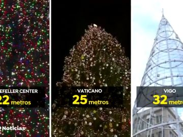 El arbol de Navidad de Vigo es más grande que el de Nueva York o El Vaticano