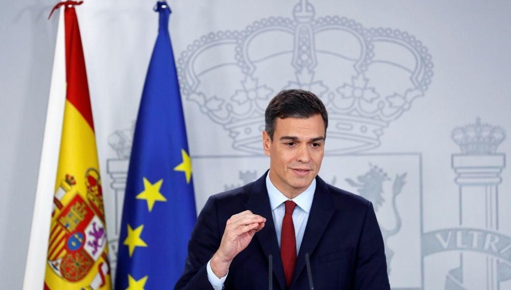 Pedro Sánchez en una comparecencia en Moncloa