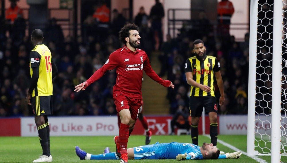 Salah celebra su gol contra el Watford