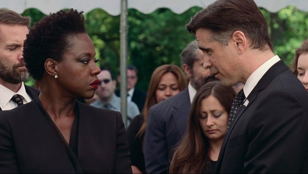 Viola Davis y Collin Farrell en 'Viudas'