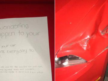 Imágenes del coche y la carta compartidas por el propietario en su red social