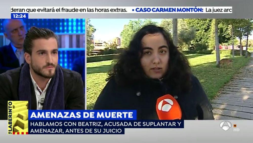 Beatriz, acusada de estafa y abuso sexual.