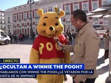 El muñeco 'Winnie the Pooh' de la Puerta del Sol.