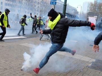 Manifestación de 'chalecos amarillos' en Bruselas