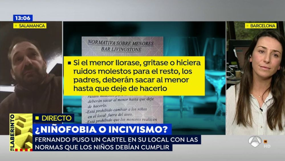 """Un restaurante de Salamanca coloca un cartel con las normas que deben cumplir los niños en el establecimiento: """"El menor no es responsable, los mal educados son los padres"""""""