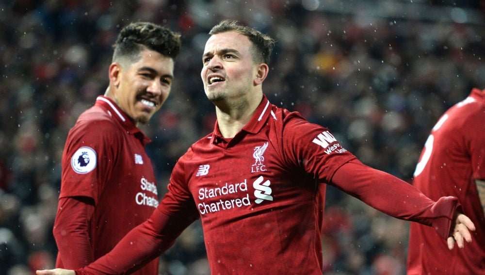 Shaqiri celebra un gol con el Liverpool