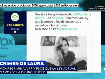 """Vox culpa a PP y PSOE de una ley """"que favorece a los delincuentes"""" por el crimen de Laura Luelmo"""