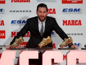 Leo Messi cuando ganó su quinta Bota de Oro