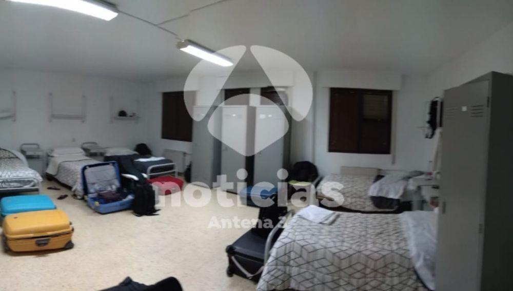 La habitación en la que han sido alojado el refuerzo policial