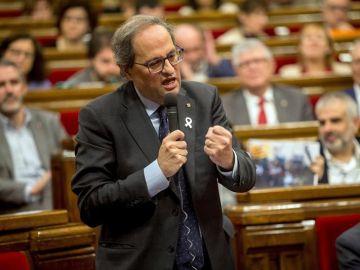 Quim Torra en el Parlament catalán