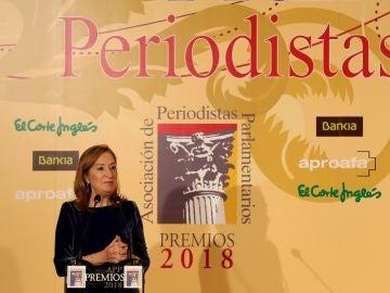La presidenta del Congreso, Ana Pastor, durante la entrega de los Premios de la Asociación de Periodistas Parlamentarios