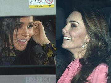 Meghan Markle y Kate Middleton llegando al almuerzo