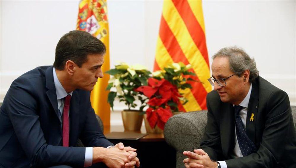 El presidente del Gobierno, Pedro Sánchez, y el presidente de la Generalitat, Quim Torra