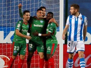 Calleri celebra su gol contra la Real Sociedad