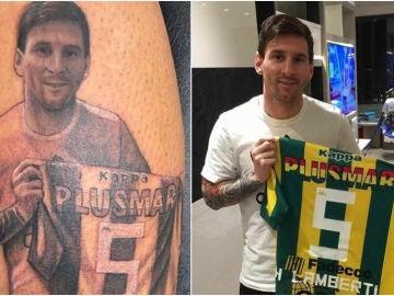 El tatuaje de Lamberti con la foto de Messi posando con su camiseta